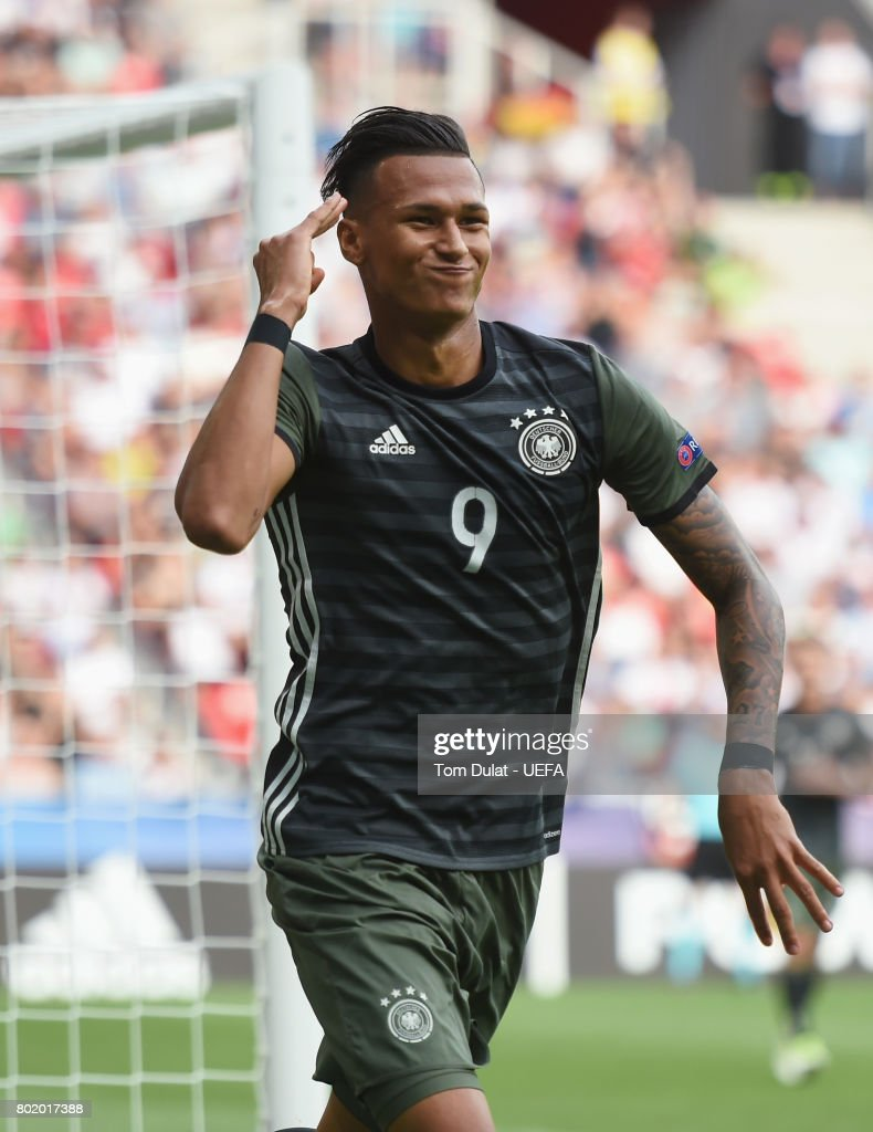 Davie Selke of Germany celebrates scoring his sides first goal during the UEFA European Under-21 Championship Semi Final match between England and Germany at Tychy Stadium on June 27, 2017 in Tychy, Poland.