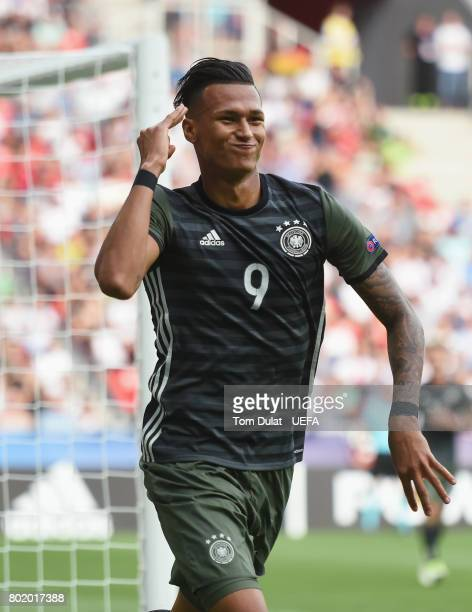 Davie Selke of Germany celebrates scoring his sides first goal during the UEFA European Under21 Championship Semi Final match between England and...
