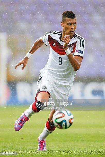 Davie Selke of Germany controls the ball during the UEFA Under19 European Championship match between U19 Germany and U19 Austria at Stadium Ferenc...