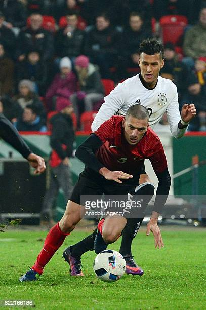 Davie Selke of Germany in action against Merih Demiral of Turkey during a U21 international soccer match between Germany and Turkey in Berlin,...