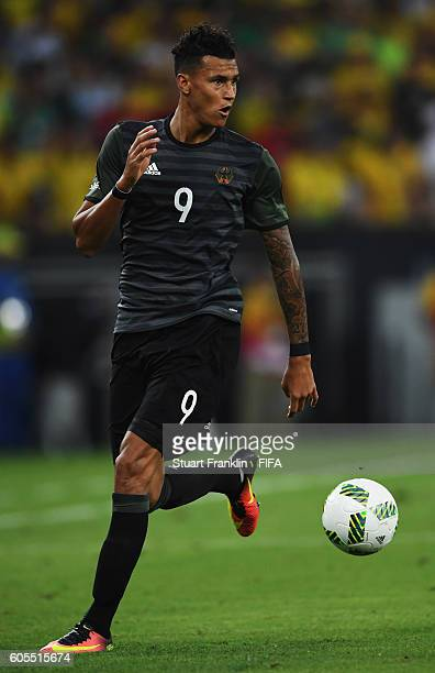 Davie Selke of Germany in action during the Olympic Men's Final Football match between Brazil and Germany at Maracana Stadium on August 20 2016 in...