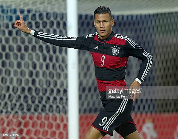 Davie Selke of Germany jubilates after scoring the first goal during the U20 international friendly match between Germany and Poland at Florian...