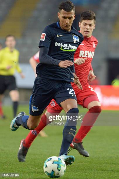 Davie Selke of Hertha and Jorge Mere of Koeln battle for the ball during the HHotelscom Wintercup match between Hertha BSC and 1 FC Koeln at...