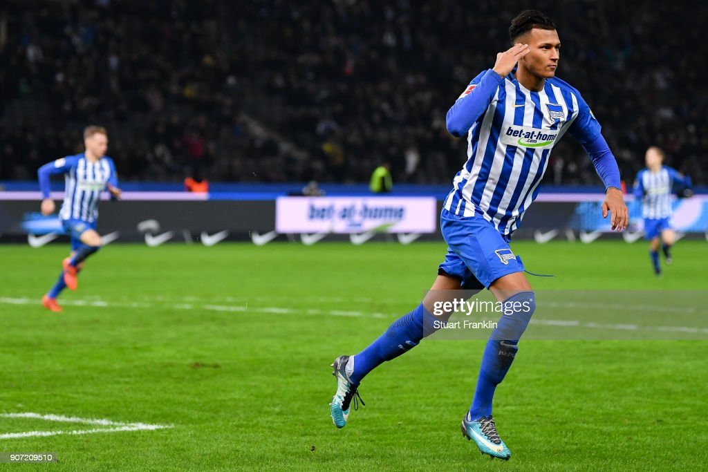 Davie Selke #27 of Hertha Berlin celebrates after scoring his team's first goal to make it 1-0 during the Bundesliga match between Hertha BSC and Borussia Dortmund at Olympiastadion on January 19, 2018 in Berlin, Germany.