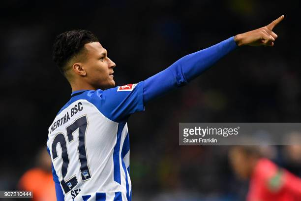 Davie Selke of Hertha Berlin celebrates after scoring his team's first goal to make it 10 during the Bundesliga match between Hertha BSC and Borussia...