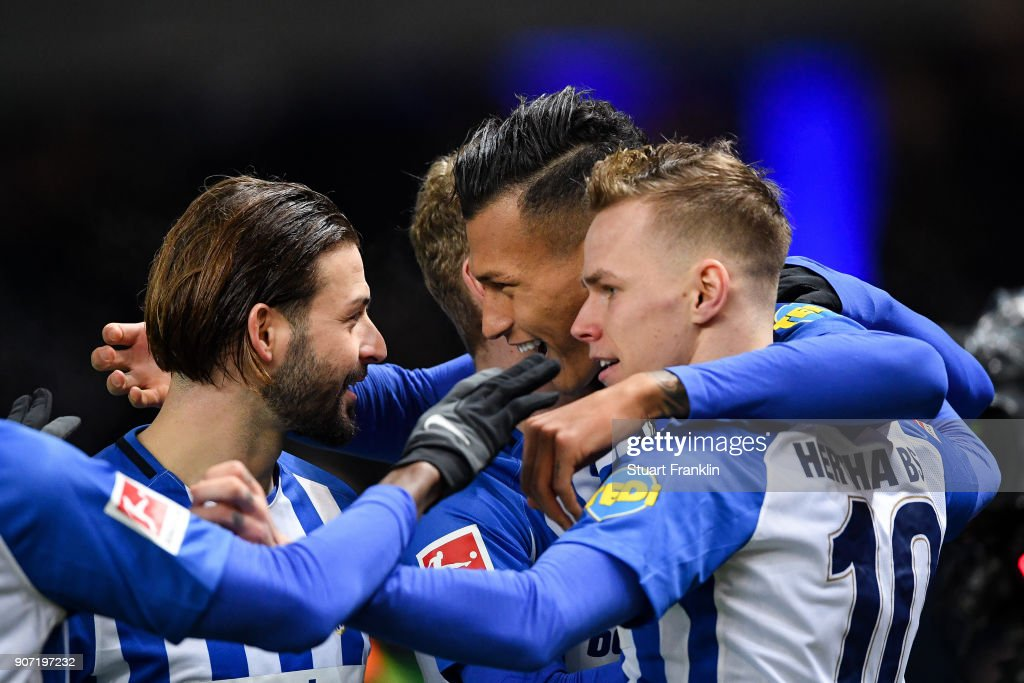 Davie Selke #27 (R) of Hertha Berlin celebrates with his team-mates after scoring his team's first goal to make it 1-0 during the Bundesliga match between Hertha BSC and Borussia Dortmund at Olympiastadion on January 19, 2018 in Berlin, Germany.