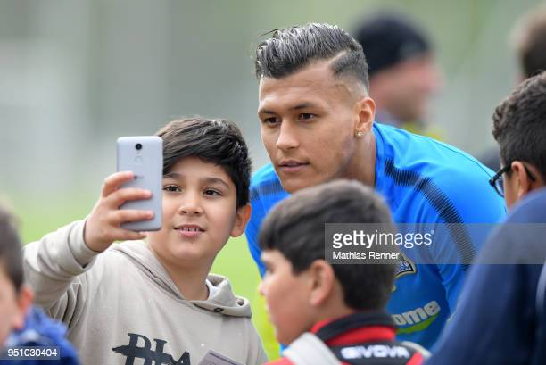 Davie Selke of Hertha BSC after the Training on april 25 2018 in Berlin Germany