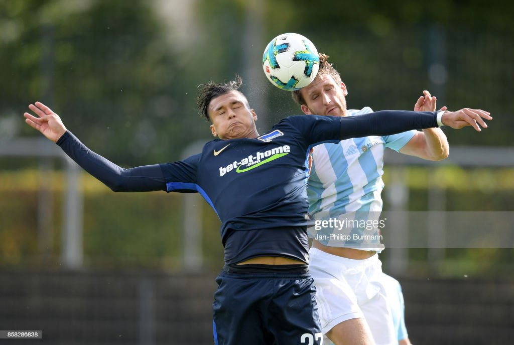 Davie Selke of Hertha BSC and Christoph Stoeter of the police epresentative team during the test match between Hertha BSC and the police epresentative team on october 6, 2017 in Berlin, Germany.