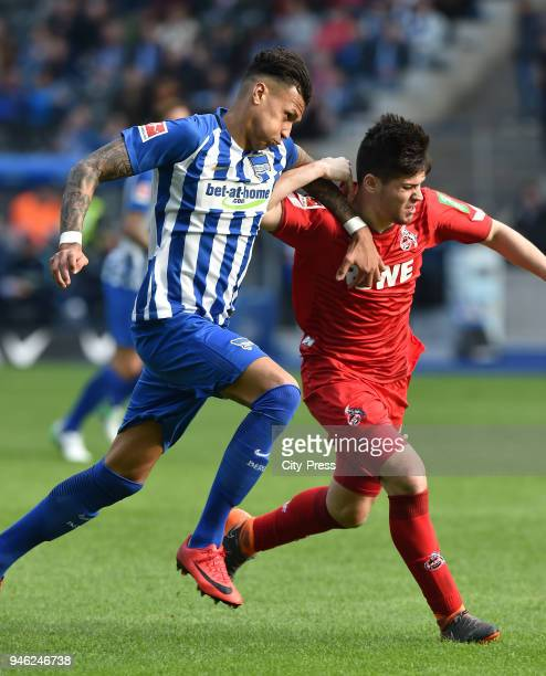 Davie Selke of Hertha BSC and Jorge Mere of 1 FC Koeln during the Bundesliga game between Hertha BSC and 1st FC Koeln at Olympiastadion on April 14...