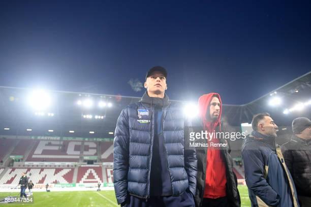 Davie Selke of Hertha BSC and Rani Khedira of FC Augsburg before the game between dem FC Augsburg and Hertha BSC on december 10 2017 in Augsburg...