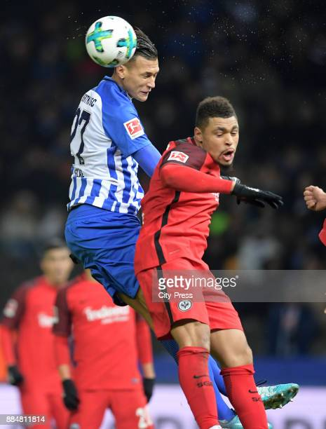 Davie Selke of Hertha BSC and Simon Falette of Eintracht Frankfurt during the game between Hertha BSC and the Eintracht Frankfurt on december 3 2017...