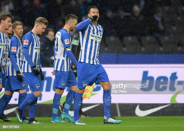 Davie Selke of Hertha BSC celebrates after scoring the 10 during the game between Hertha BSC and the Eintracht Frankfurt on december 3 2017 in Berlin...