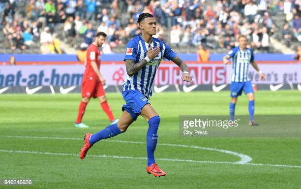 Davie Selke of Hertha BSC celebrates after scoring the 11 during the Bundesliga game between Hertha BSC and 1st FC Koeln at Olympiastadion on April...