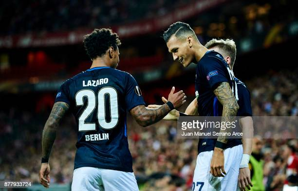 Davie Selke of Hertha BSC celebrates with his teammates Valentino Lazaro of Hertha BSC after scoring his team's second goal during the UEFA Europa...