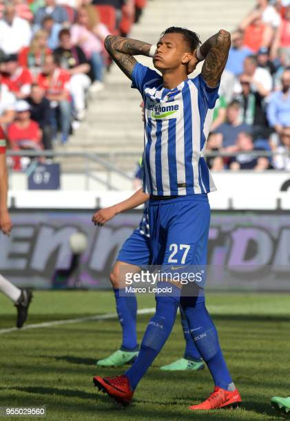Davie Selke of Hertha BSC during the Bundesliga game between Hannover 96 and Hertha BSC at HDI Arena on May 5 2018 in Hannover Germany