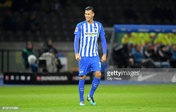 Davie Selke of Hertha BSC during the first Bundesliga game between Hertha BSC and 1st FSV Mainz 05 at olympiastadion on February 16 2018 in Berlin...
