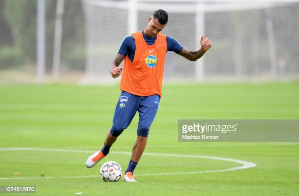 Davie Selke of Hertha BSC during the training at the Schenkendorfplatz on august 28 2018 in Berlin Germany