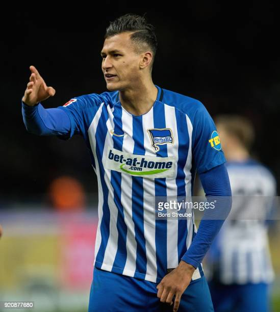 Davie Selke of Hertha BSC gestures during the Bundesliga match between Hertha BSC and 1 FSV Mainz 05 at Olympiastadion on February 16 2018 in Berlin...
