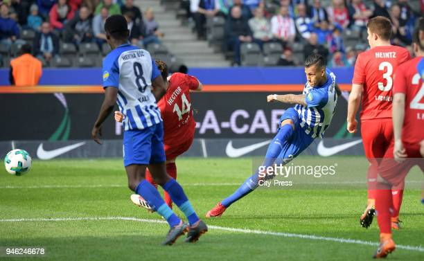 Davie Selke of Hertha BSC goals to 11 during the Bundesliga game between Hertha BSC and 1st FC Koeln at Olympiastadion on April 14 2018 in Berlin...