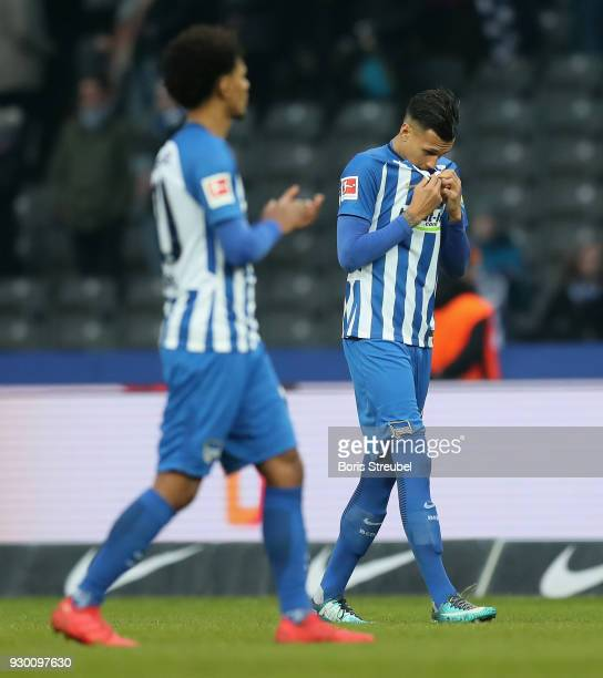 Davie Selke of Hertha BSC looks dejected after the Bundesliga match between Hertha BSC and SportClub Freiburg at Olympiastadion on March 10 2018 in...