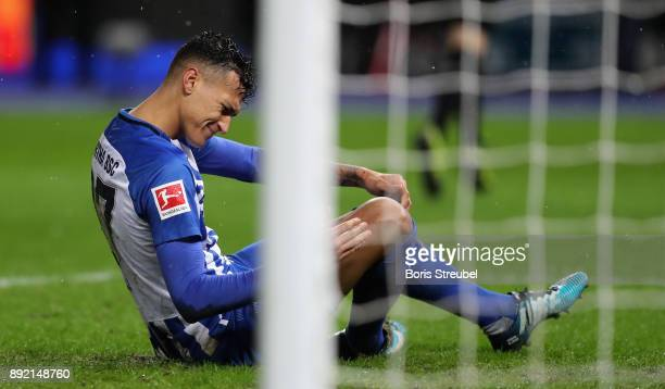 Davie Selke of Hertha BSC sits on the pitch during the Bundesliga match between Hertha BSC and Hannover 96 at Olympiastadion on December 13 2017 in...
