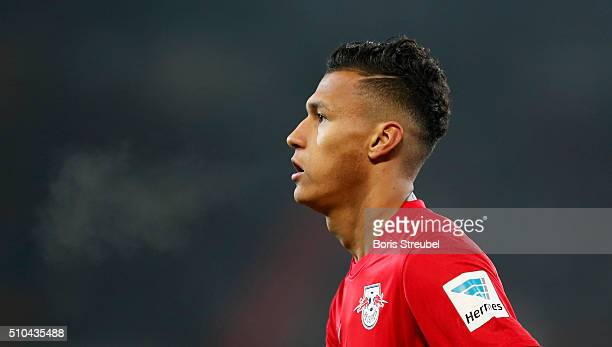 Davie Selke of Leipzig looks on during the Second Bundesliga match between FC St Pauli and RB Leipzig at Millerntor Stadium on February 12 2016 in...