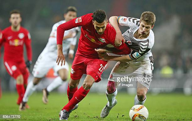 Davie Selke of RB Leipzig and Daniel Buballa of St Pauli battle for the ball during the Second Bundesliga match between FC St Pauli and...