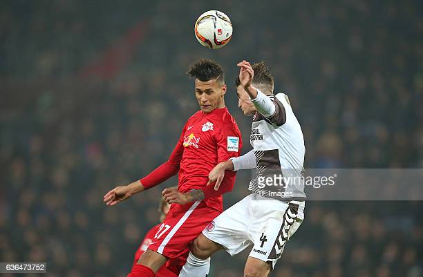 Davie Selke of RB Leipzig and Philipp Ziereis of St Pauli battle for the ball during the Second Bundesliga match between FC St Pauli and...