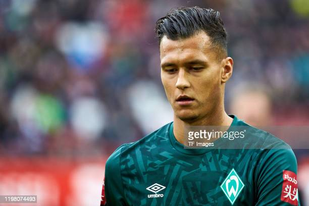Davie Selke of SV Werder Bremen looks on during the Bundesliga match between FC Augsburg and SV Werder Bremen at WWKArena on February 1 2020 in...