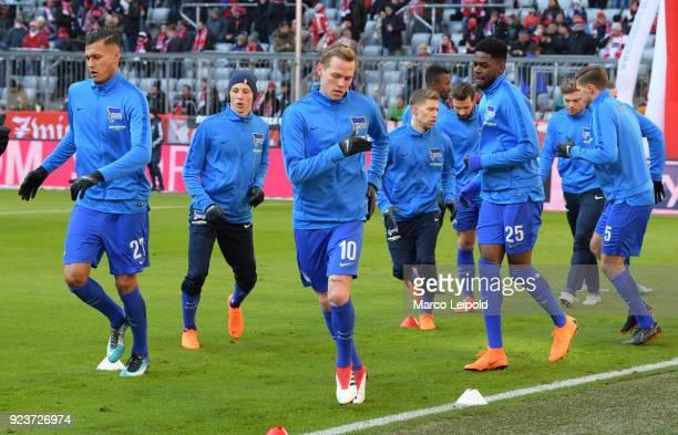 Davie Selke Palko Dardai Ondrej Duda Mitchell Weiser and Jordan Torunarigha of Hertha BSC before the Bundesliga match between FC Bayern Muenchen and...