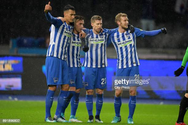 Davie Selke Peter Pekarik Mitchell Weiser and Fabian Lustenberger of Hertha BSC celebrate after scoring the 10 during the game between Hertha BSC and...