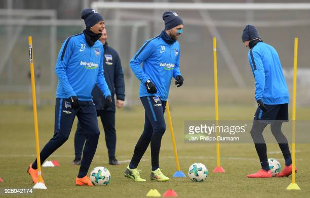 Davie Selke Vedad Ibisevic and Ondrej Duda of Hertha BSC during the training session at the Schenkendorfplatz on march 6 2018 in Berlin Germany