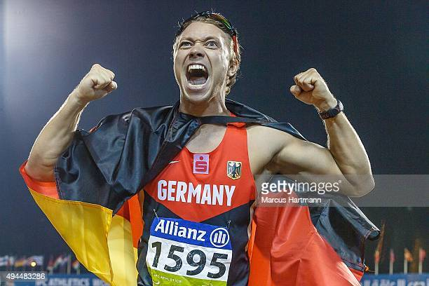 October 23: Davied Behre of Germany competing in Men's T44 400m Final and winning at Suhaim Bin Hamad Stadium on October 23, 2015 in Doha, Qatar.