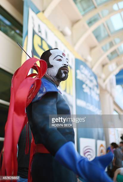 Davien O dressed as Marvel villian Mr Sinister attends the first day of the 45th annual San Diego ComicCon in San Diego California July 24 2014 The...