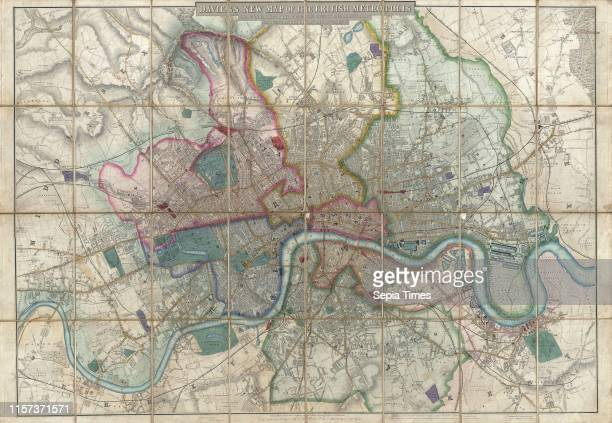 1852 Davies Case Map or Pocket Map of London England