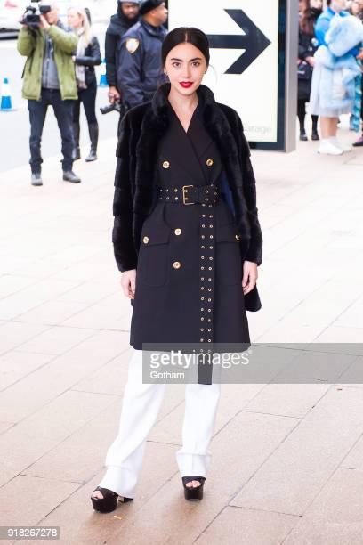 Davika Hoorne attends the Michael Kors fashion show during New York Fashion Week at the Vivian Beaumont Theater at Lincoln Center on February 14 2018...