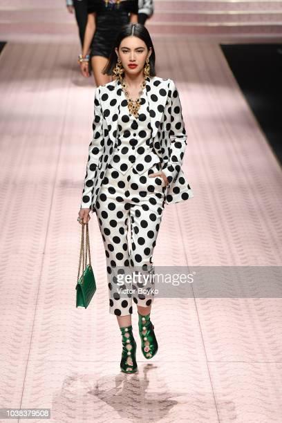 Davika Hoorne walks the runway at the Dolce Gabbana show during Milan Fashion Week Spring/Summer 2019 on September 23 2018 in Milan Italy