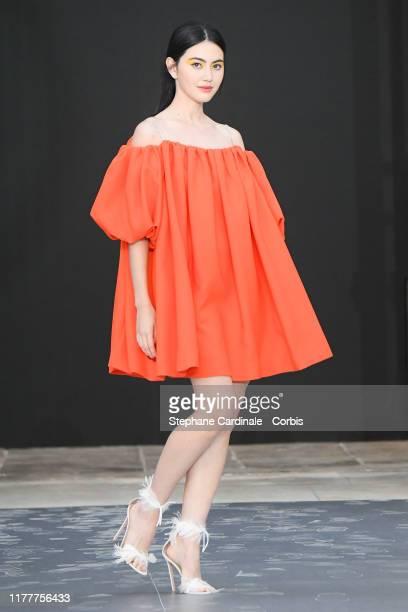"Davika Hoorne walks the runway during the ""Le Defile L'Oreal Paris"" Show as part of Paris Fashion Week on September 28, 2019 in Paris, France."