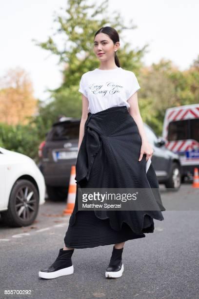 Davika Mai Hoorne is seen attending Issey Miyake during Paris Fashion Week wearing Issey Miyake on September 29 2017 in Paris France