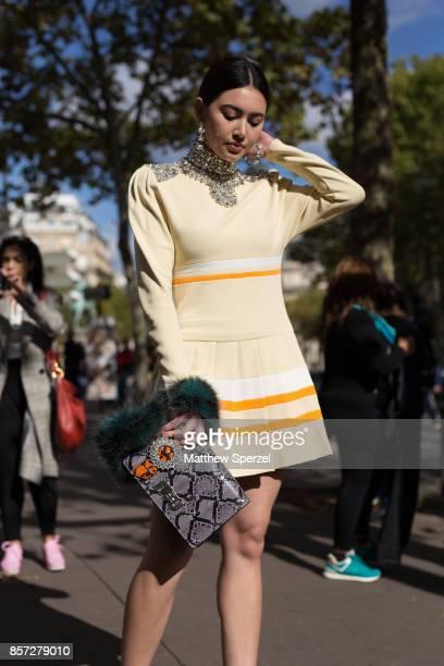 Davikah is seen attending Miu Miu during Paris Fashion Week wearing Miu Miu on October 3 2017 in Paris France