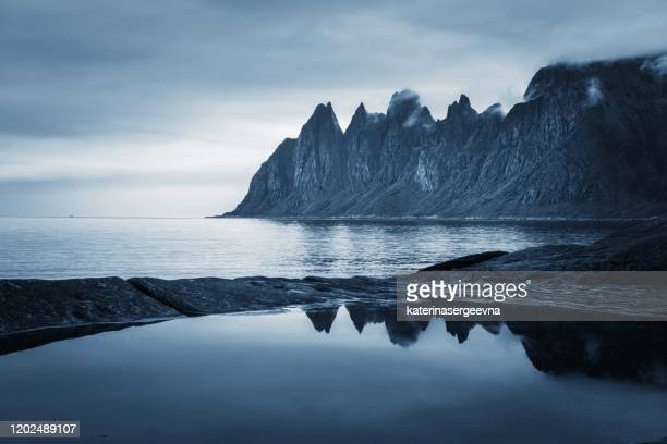 davil's jaw. norway,island senja - northern norway stock pictures, royalty-free photos & images