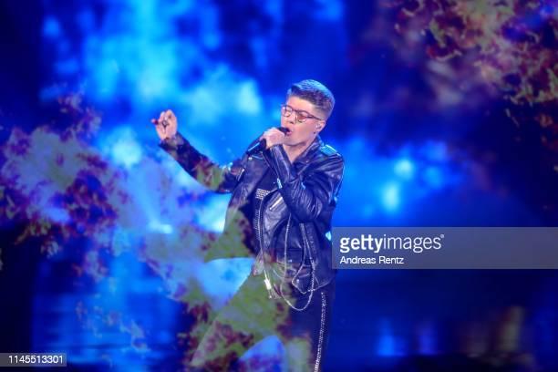 Davin Herbrueggen performs during the season 16 finals of the tv competition show Deutschland sucht den Superstar at Coloneum on April 27 2019 in...
