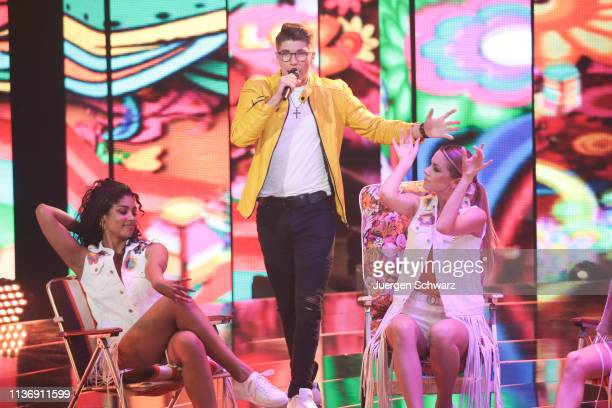 Davin Herbrueggen performs during the second event show of the tv competition Deutschland sucht den Superstar at Coloneum on April 13 2019 in Cologne...