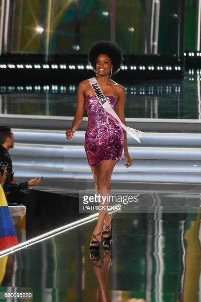 Davina Bennett Miss Jamaica competes in the Miss Universe pageant on November 26 2017 in Las Vegas Beauties from across the globe converged in Las...
