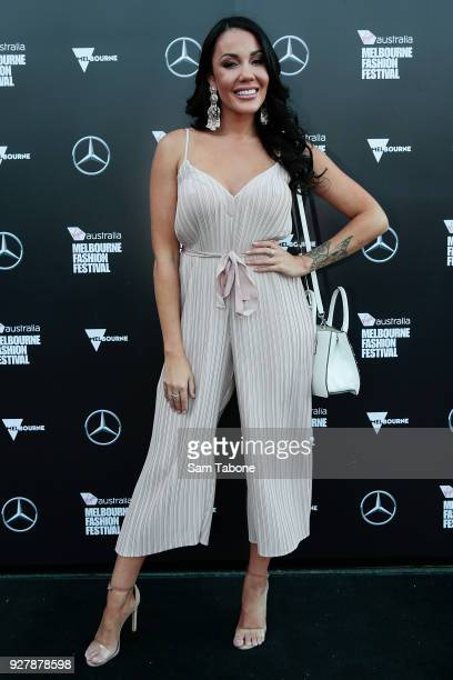 Davina Brown arrives ahead of the VAMFF 2018 Runway 1 presented by Vogue on March 6 2018 in Melbourne Australia