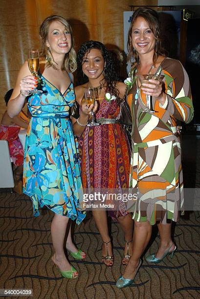 Davina Mawson Assunta Saklaoui and Kat Chapman at the New Weekly Oscars party The Westin Hotel Sydney 6 March 2006 SHD Picture by JANIE BARRETT