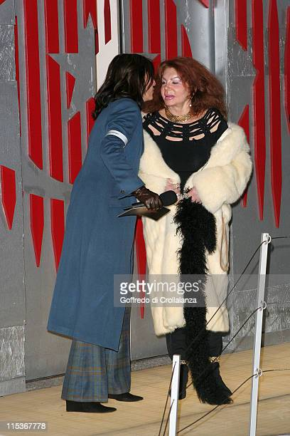 Davina McCall and Jackie Stallone during Celebrity Big Brother 2 First Eviction at Elmstree Studios in London England Great Britain