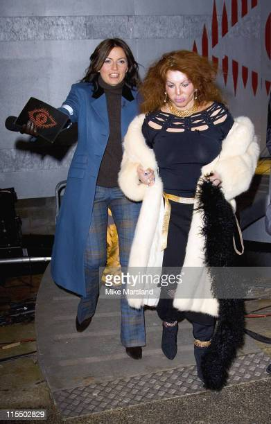 Davina McCall and Jackie Stallone during Celebrity Big Brother 2 First Eviction at Elstree Studios in London England Great Britain