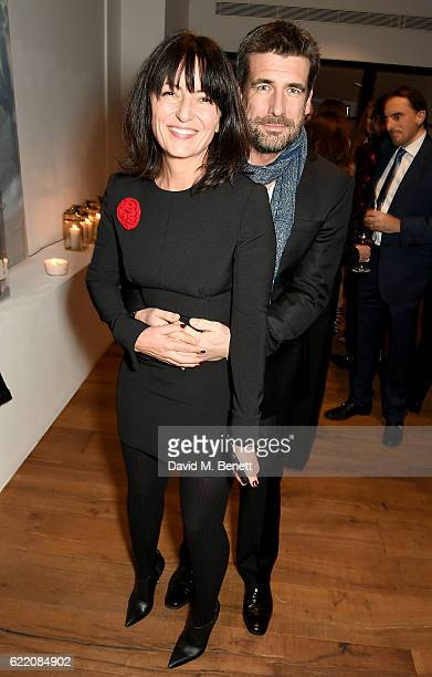 Davina McCall and Matthew Robertson attend the anniversary party for Kelly Hoppen MBE celebrating 40 years as an Interior Designer at Alva Studios on...