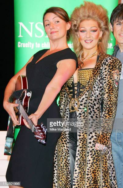 Davina McCall and Mazz Murray during Davina McCall and the Cast of 'We Will Rock You' Present The NSPCC with a Check for 250 Raised by Theatre Staff...